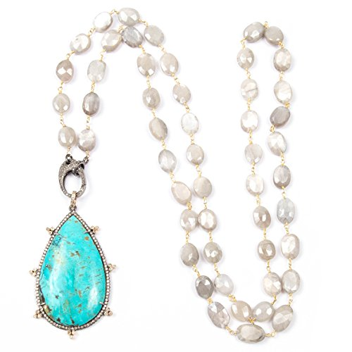 Pavé Diamond and Turquoise Teardrop Pendant with Diamond Clasp and Wire Wrapped Moonstone Necklace - 33 inches long Handmade Necklace by Miller Mae Designs