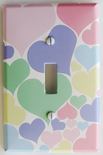 Pastel Heart Light Switch Plate Cover in pink, blue, purple, yellow, and green by Presto Light Switch Plate Covers