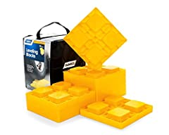 Heavy duty blocks are safe and easy to use. They offer many options for leveling single wheels, dual wheels, hydraulic jacks, tongue jacks, stabilizer jacks, 5th wheel jacks and tandem axles. Customize your levels: Stack interlocking blocks t...