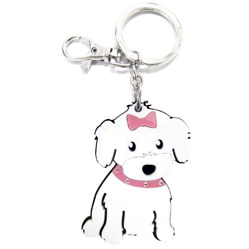 Maltese Keychain - Love Your Breed Acrylic Keychain, Girl Maltese
