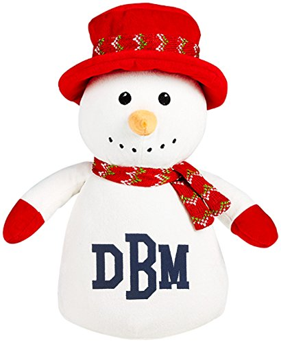Personalized Stuffed Snowman in a Top Hat with Embroidered Collegiate Monogram