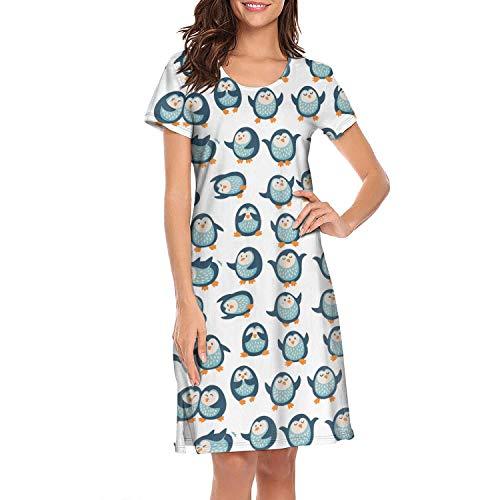 XUWU Nightshirts for Women Cartoon Penguin Nightgown Short Sleeves Sleepwear