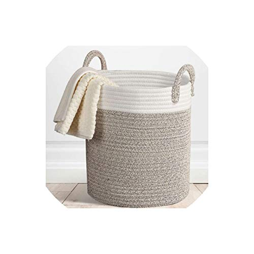Lovely-orange Nordic Cotton Rope Hamper Clothing Storage Basket Toy Debris Storage Basket Bedroom Collapsible Organizer Large Laundry Bucket,38x33cm