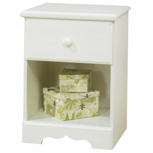 South Shore Summer Breeze 1-Drawer Nightstand, White Wash