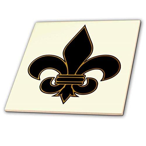 3dRose ct_22360_3 Large Black and Gold Fleur De Lis Christian Saints Symbol-Ceramic Tile, ()
