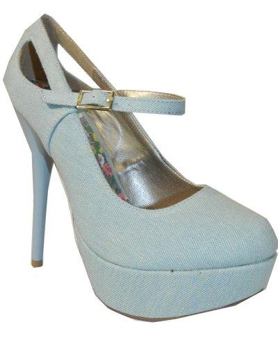 Qupid NEUTRAL-02 Women's Cut-Out High Heel Mary Jane Platform Stiletto Pumps,10 B(M) US,Light Blue Denim