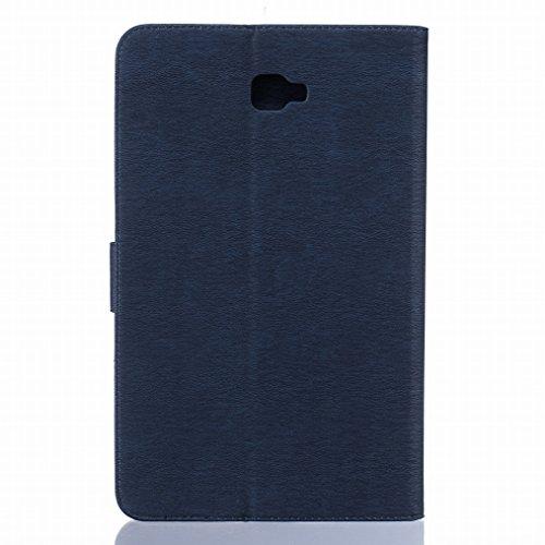 LEMORRY Samsung Galaxy Tab A 10.1 / T580 / T585 Funda Estuches Pluma Repujado Cuero Flip Billetera Bolsa Piel Slim Bumper Protector Magnética Cierre Standing Card Slot TPU Silicona Carcasa Tapa para G Azul profundo