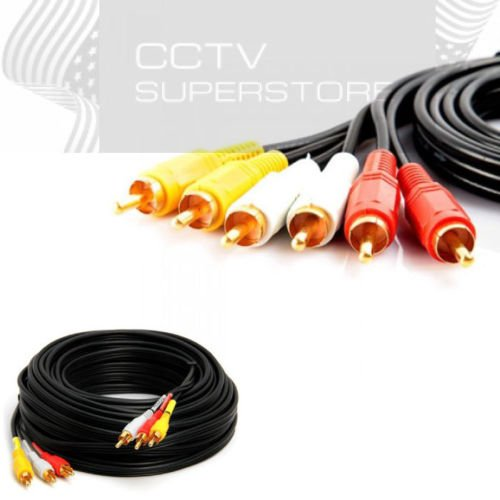(25FT 3-RCA (L + R + V) Composite AV Audio Video Cable Gold Plated Male M/M 25')