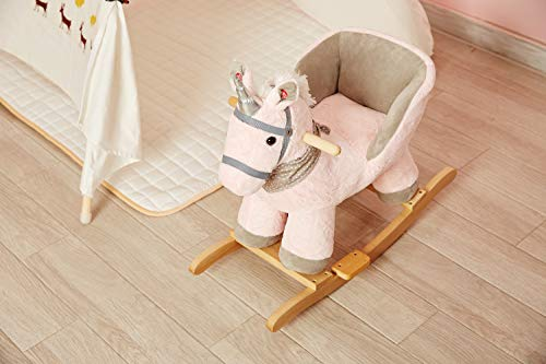 Rock My Baby Pink Rocking Unicorn with Chair,Plush Stuffed Animal Rocker,Wooden Rocking Toy Unicorn/Baby Rocker/Animal Ride on,Home Decor,for Girls,Indoor&Outdoor (Pink Unicorn) by Rock My Baby (Image #4)