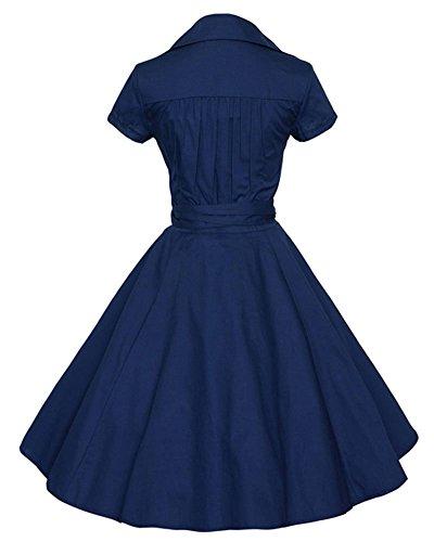 Puntino Wiggle Blu YiLianDa Vestito Donna Vintage V Maniche 1950'S Collare Corto n8aRqw