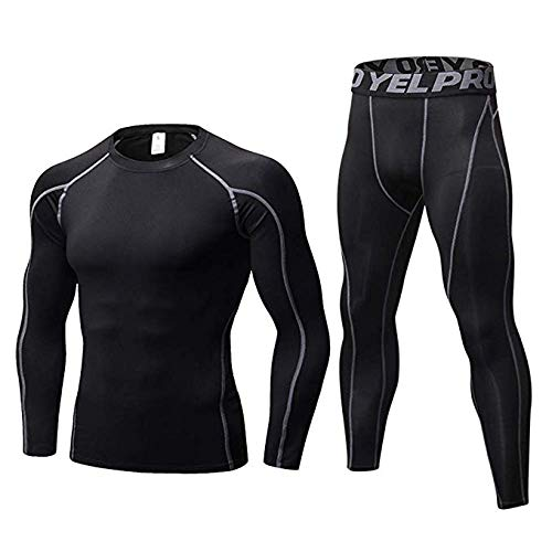 - Minghe Men's 2pcs Long Underwear Set Cool Dry Compression Set Base Layer Top Bottoms Black M