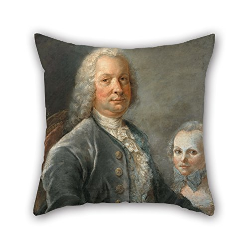 Oil Painting François Dorly - Portrait Of An Architect With A Little Girl Pillowcover 18 X 18 Inch / 45 By 45 Cm For Divan,wife,christmas,floor,dining Room,kitchen With 2 Sides