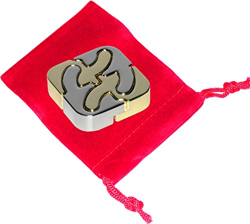 Square Brain Teaser (SQUARE Hanayama Cast Metal Brain Teaser Puzzle _ Bonus Red Velveteen Drawstring Pouch _(Level 6 Difficulty) _ Bundled Items)