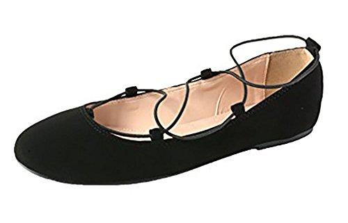 Bella Marie Angie-53 Damesschoen Klassiek Puntige Teen Ballet Slip Op Suèdelaagjes, Zwart Nb 7.5