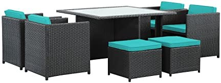 Modway Inverse Wicker Rattan 9-Piece Outdoor Patio Dining Furniture Set