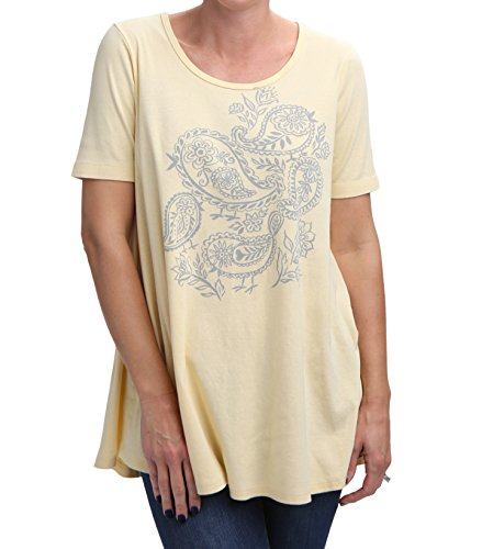 Green 3 Spring Short Sleeve Tunic Top - 100% Organic Cotton Womens T Shirt, Made in The USA (Paisley Birds on Light Yellow, Medium)