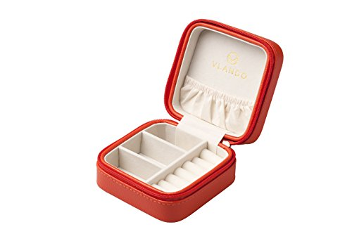 Vlando Macaron Small Jewelry Box, Travel Storage Case for Rings and Earrings-Orange
