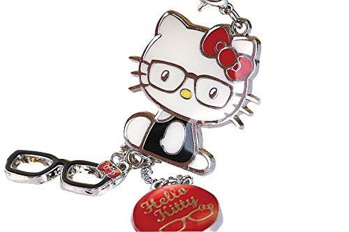 Z122-B-2 Cute Adorable Red Style Hello Kitty Glasses Charms Keychain Key Ring (Hello Kitty Key Ring)