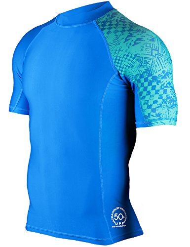 Huge Sports Mens Splice Uv Sun Protection Upf 50  Crew Neck Skins Rash Guard Short Sleeves  Blue  3Xl