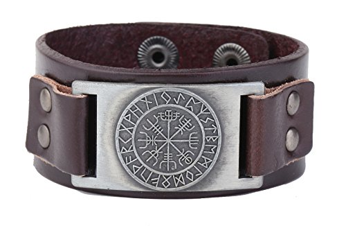 Adjustable 2 Options Snaps Button Wristband Leather Bracelets Scandinavian 24 Norse Runes Viking Brass Charms Jewelry (Antique Silver, Brown)