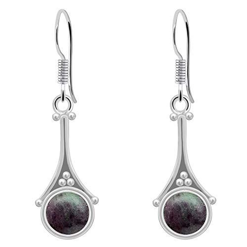 Ruby Zosite Earrings By Orchid Jewelry: Dangle and Hypoallergenic Red Earrings For Sensitive Ears, Nickel Free Wedding Earrings, July Birthstone Sterling Silver Dangling Earring (2.2 Ctw)
