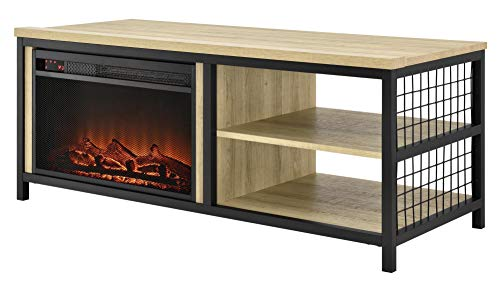 """Ameriwood Home Brookspoint TV Stand with Fireplace for TVs up to 75"""", Golden Oak"""