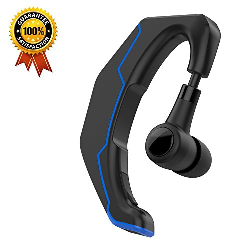 Bluetooth Headset, Yuwiss Wireless Earpiece with 180 Degree Rotation Noise Cancelling Mic headphones In-Ear Calling Stereo Earbuds for Driving, iPhone, Android, Samsung Galaxy Cellphones (Blue)