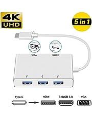 Adaptador HUB USB Tipo C a HDMI/VGA / 3 x USB 3.1 Tipo C, NeefeaerHUB USB C (Compatible con Thunderbolt 3) USB C HDMI Adaptador multipuerto AV Digital para MacBook, Chromebook Pixel y más