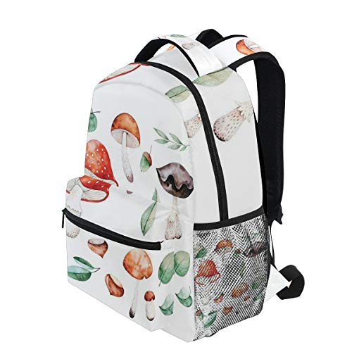 - KVMV Fall Season Mushrooms Chestnuts with Hand Drawn Foliage Leaves Watercolor Design Lightweight School Backpack Students College Bag Travel Hiking Camping Bags