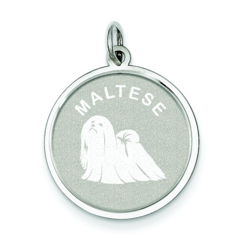 Sterling Silver Maltese Disc Charm Pendant Jewelry