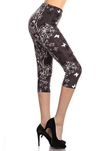Leggings Depot Capri REG/Plus Women's Buttery Popular Prints BAT13 (Plus Size (Size 12-24), Butterfly Kisses)