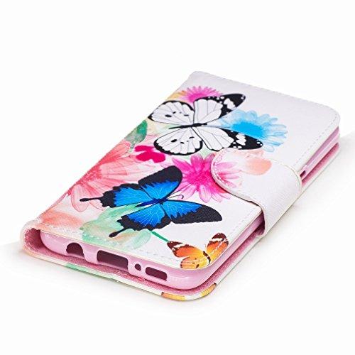 Yiizy Samsung Galaxy S8 Custodia Cover, Farfalla Design Sottile Flip Portafoglio PU Pelle Cuoio Copertura Shell Case Slot Schede Cavalletto Stile Libro Bumper Protettivo Borsa