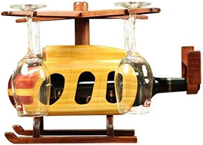 ワインラック ワインホルダー レトロ工業用ワインホルダー棚木材彫刻工芸品ホームデコレーションインテリア(ヘリコプター)