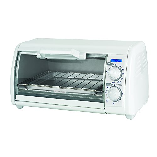 BLACK+DECKER TRO420 4-Slice Toaster Oven, Includes Bake Pan, Broil Rack & Toasting Rack, White Toaster Oven (White Compact Toaster Oven compare prices)