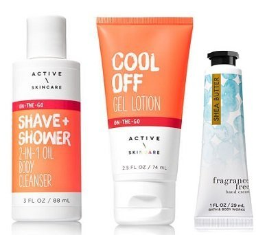 Bath and Body Works Active Skincare Travel Size Shave & Shower 2-in-1 Oil Body Cleanser 3 Oz. and Cool Off Mini Gel Lotion 2.5 Oz.