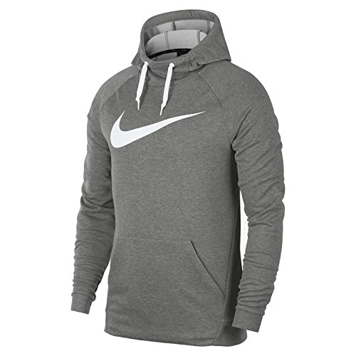 NIKE Dry Men's Training Hoodie (M, Dark Grey Heather/White)