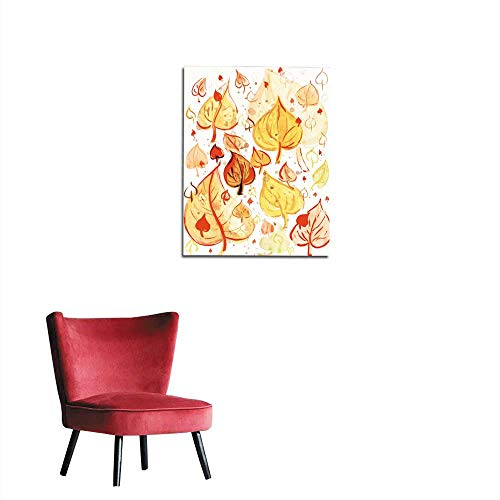 longbuyer Mural Decoration Autumn Leaves Background Watercolor Paint on Paper Mural 24