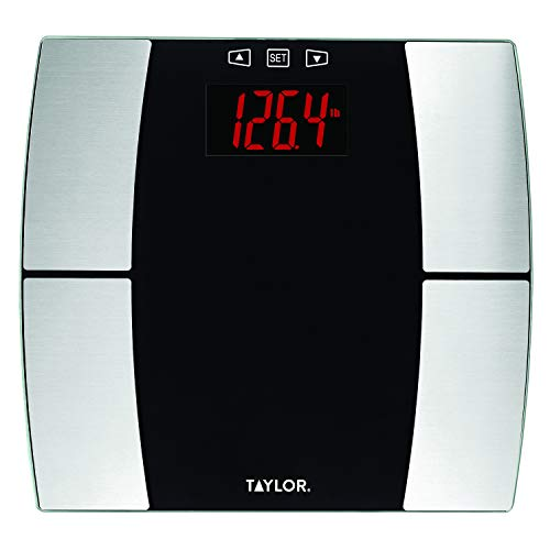 Taylor Precision Products Body Composition Scale with Body Fat, Body Water, Muscle Mass, Bone Mass, BMI and Cal-Max, Black