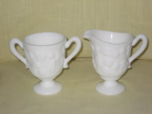 Vintage Milk Glass Pedestal Sugar Bowl & Creamer Set (Fenton Glass Creamer)