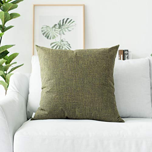 Kevin Textile Decorative Hand Made Lined Linen Throw Pillow Cases Cushion Cover for Bedroom, 26x26 inch(2 Pieces, Peridot Green)