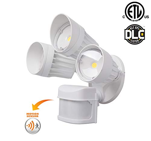 LED Outdoor Security Flood Light with 270 Degree Coverage Motion Sensor, 30W, 3 Head, White Color, LED Motion Security Light, Garage, Front, Back Yard, Porch 5000K