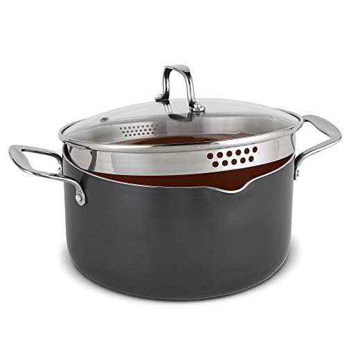 VonShef Casserole and Pasta Multi Pot with Strainer Lid, Easy Clean, Non-Stick Copper-Colored Interior, Stainless Steel Handles and Tempered Glass Lid, Induction Hob Ready, Copper, 5 Quart Capacity ()