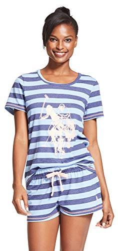 U.S. Polo Assn. Womens 2 Piece Short Sleeve Shirt Elastic Waist Shorts Pajama Set Navy Heather Large