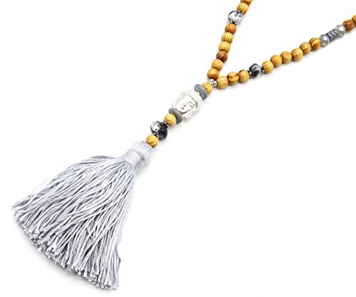 CL1545F - Sautoir Collier Perles Bois, Effet Marbre et Brillantes avec Pendentif Bouddha Métal Argenté et Pompon Fils Gris