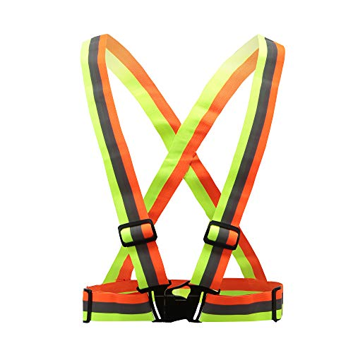 A-SAFETY Reflective Vest, Fully Adjustable & Multi-Purpose: Running, Cycling, Motorcycle Safety, Dog Walking - High Visibility Neon Colors,Yellow-Orange Mixed