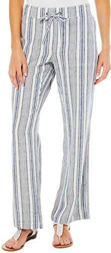per Se Womens Striped Linen Pull On Pants X-Large (Striped Linen Blend Pants)