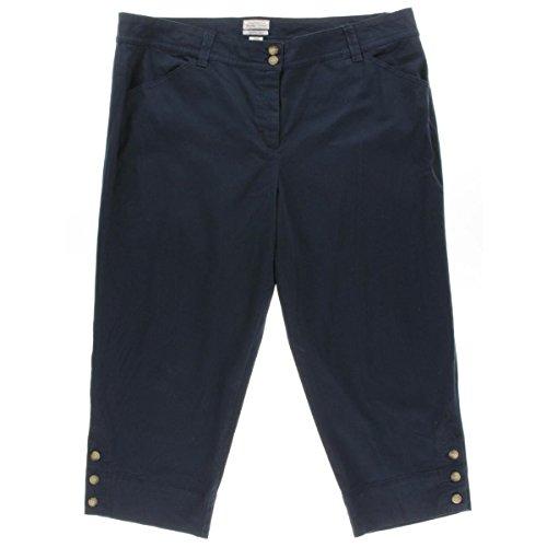 Charter Club Womens Plus Twill Classic Fit Capri Pants Navy 24W
