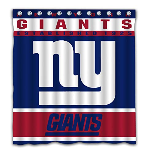 New York Giants Drapes - Potteroy New York Giants Team Design Shower Curtain Waterproof Mildew Proof Polyester Fabric 66x72 Inches