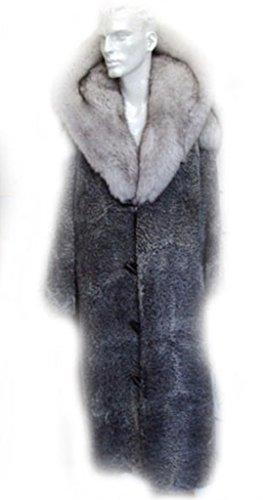 Oliverfurs NEW REFURBISHED GREY PERSIAN LAMB ASTRAKHAN & NORWEGIAN FOX FUR COAT JACKET MAN MEN SIZE (Persian Lamb Fur Coat Jacket)