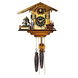 River City Clocks 12 Melody Quartz Cuckoo Clock-Heidi's Chalet with Revolving Figures
